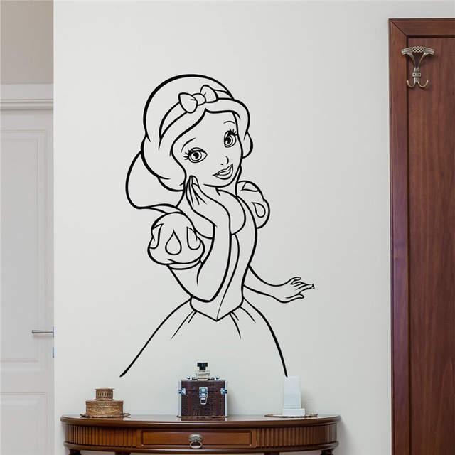 506 6 De Réductionautocollant Mural Blanc Neige Dessin Animé Mignon Fille Vinyle Autocollant Salon Adolescent Enfants Chambre Décor Mural Cool