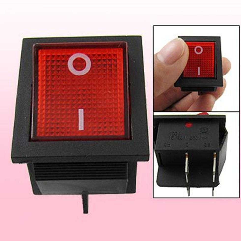 2015 Hot  Red Light Illuminated 4 Pin DPST ON/OFF Snap in Rocker Switch 16A 20A 250V AC promotion 5 pcs x red light illuminated double spst on off snap in boat rocker switch 6 pin