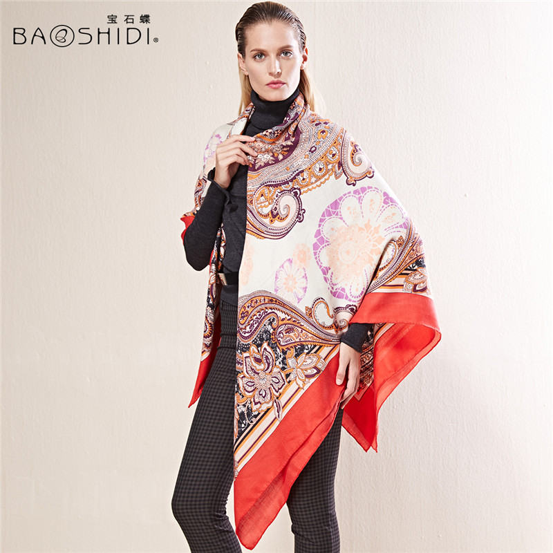 BAOSHIDI 55 cashmere scarf 45 silk luxury brand scarves womens scarfs fashionable Super Large Square