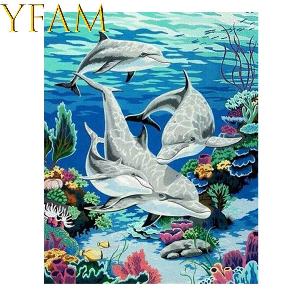 Dunia Bawah Laut Lumba Lumba Lukisan Dengan Angka Acrylic