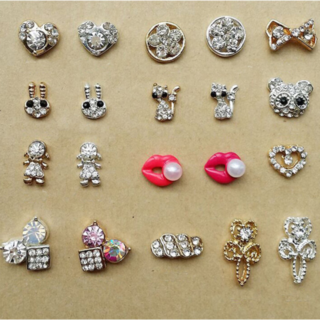 Gold Silver Rhinestones Art Nail Design Supplies Fashion Lip Animal