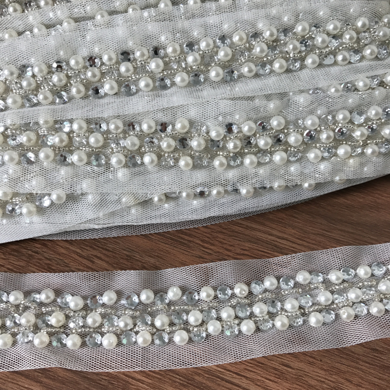 Luxury Style Pearl Beaded Mesh Lace Trim For Headbands, Lingerie, Dolls,5.7 Yards