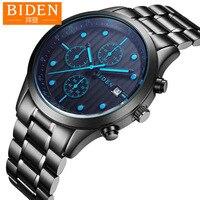 men watch Biden brand mens wristwatches stainless steel man clcoks waterproof calendar luminous male watches Citizen movement