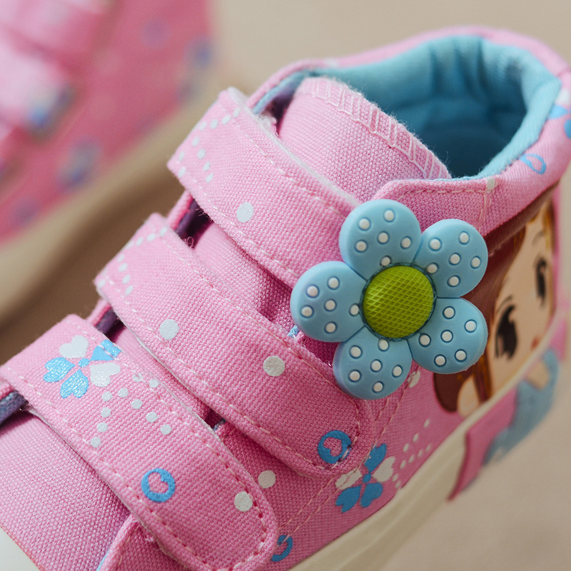 19 Spring Autumn Children Canvas Shoes Girls Fashion Sneakers 3 Colors High Baby Casual Shoes Breathable Princess Shoes 10