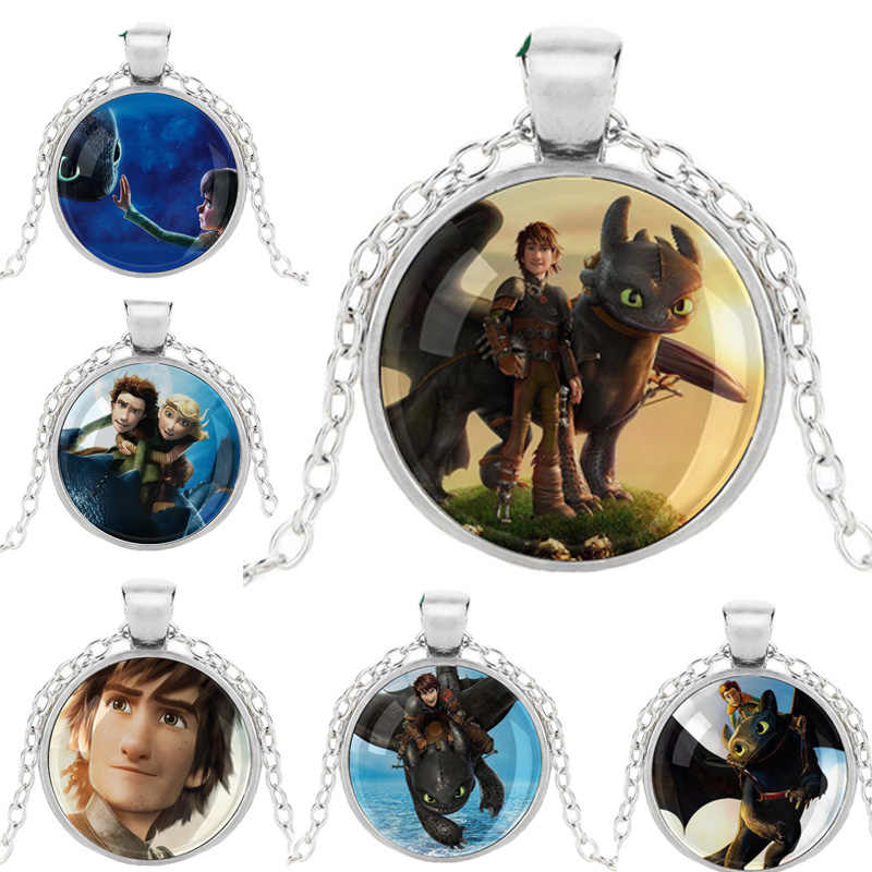 LERNEJO Movie How to Train Your Dragon Necklace Adventure Anime Cartoon Necklet Pendant Hiccup Glass Cabochon For Fans Gift