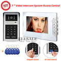 "New 7"" Wired Video Door Intercom Access Control System Video Door Phone ID Card Password Unlock For Home Security"