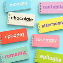 2pcs/lot 14.2*6.5*1cm 80sheets Candy Color Note Book Letter Solid English Pocket Carry Notebook Blank Word