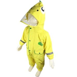 Image 5 - 2 9 שנות ילדי אופנתי עמיד למים סרבל מעיל גשם ברדס קריקטורה דינוזאור ילדים מקשה אחת גשם מעיל תינוק סיור ציוד גשם