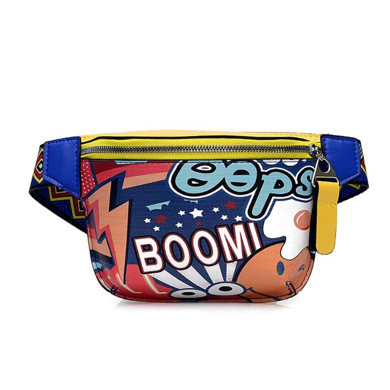 Cartoon Graffiti PU Leather Women Waist Bag Hip-Hop Street Style Chest Belt Bag Phone Money Pouch Female Fanny Pack