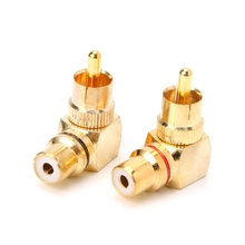 цена на YAM 2X Brass RCA Right Angle Male To Female Gold Plated Connector 90 Degree Adapters
