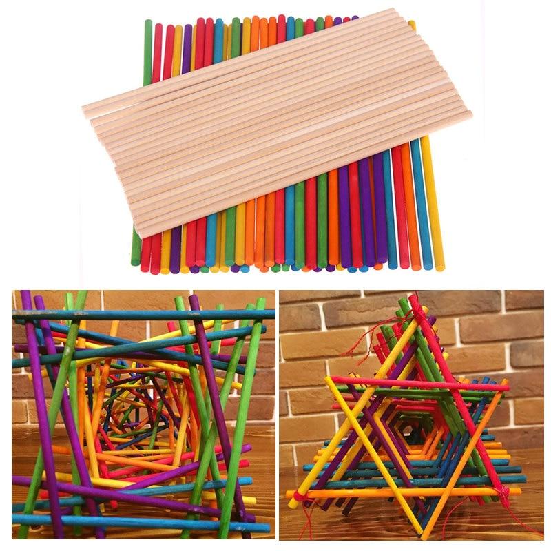 Rainbow Colours 100 Craft Sticks Lollipop Lolly Popsicle