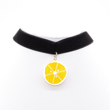 1pcs Fashion Orange fruit Pendant Necklace LeatherNecklaces NEW Valentine's gift accessories wholesale free delivery