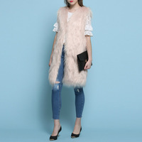 pink beige casaco feminino Fake Fur Cotton Women vest coats manteau femme winter coat women abrigos mujer jas poncho cape vest
