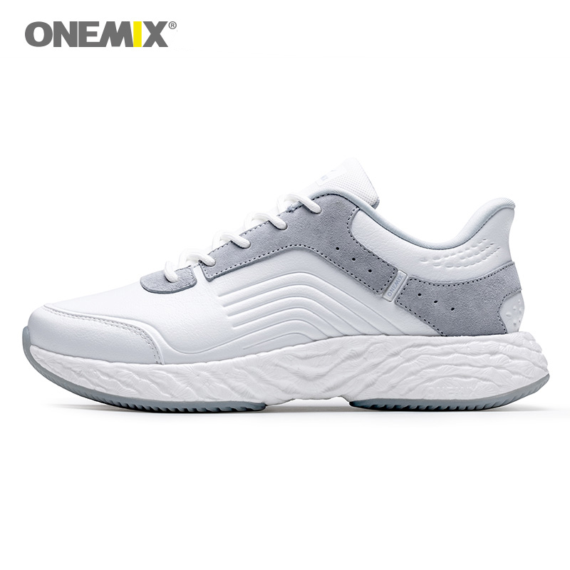 ONEMIX Women Leather Sneakers Breathable Outdoor Summer Footwear Sports Shoes Male Boost 350 Outdoor Running Shoes for Women