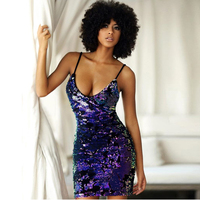 Sexy Shiny Bodycon Sequined Mini Dress Open Back Cross Straps Party Dresses Blue Multicolour Sequins Night Club Dress