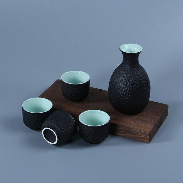 Ensemble de Flagon de saké de Style japonais | Avec 4 tasses à vin, flacons de hanche en céramique artisanat liqueur Saka Stoup bouteille de costume pour lalcool