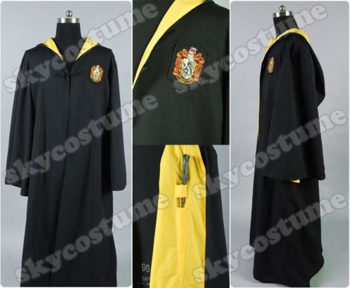 School Uniform Hufflepuff Lined Robe Cosplay Costume Halloween Carnival Costumes For Male Female