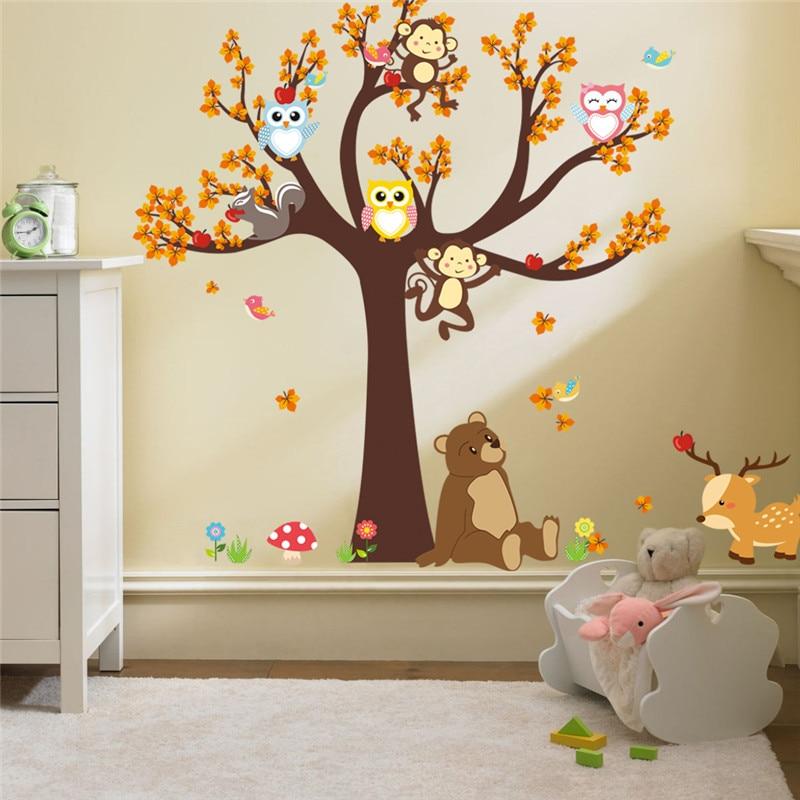 Cartoon Forest Tree Owl Monkey Bear Deer Wall Stickers