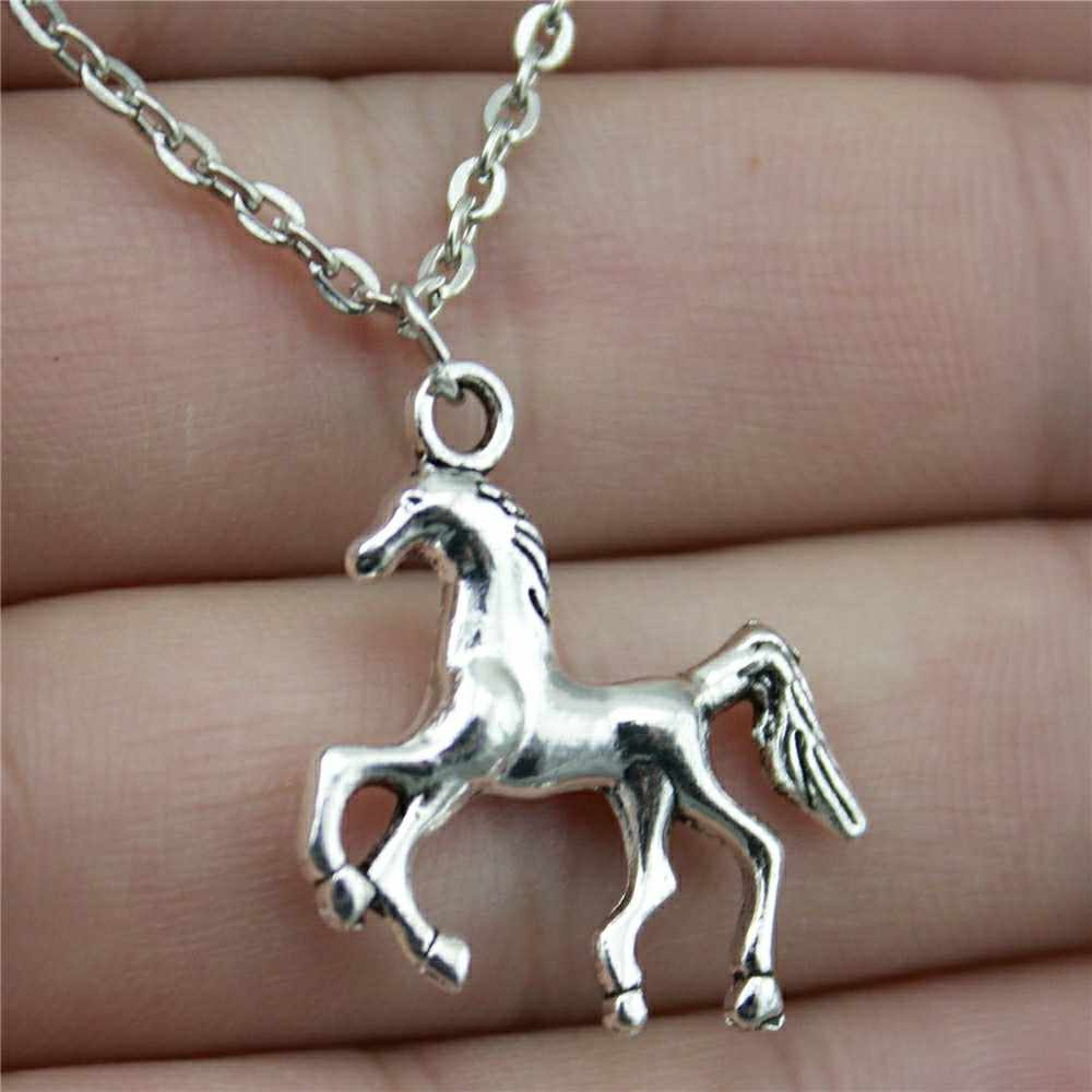 2019 موضة جديدة 24x22 مللي متر العتيقة الفضة مطلي الحصان قلادة قلادة مجوهرات للنساء
