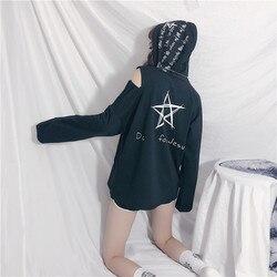 CheerSolo Autumn Hoodies Women Letter Print Star Sweatshirt Open Shoulder Long Sleeve Cut Out Top White Black Korean Streetwear 6