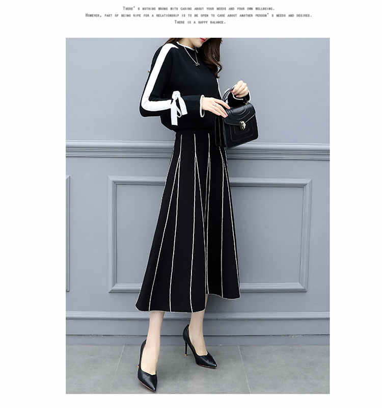 Plus Size Black Women Knitted Two Piece Sets Bow Tie Sweater And Long Skirt Suits Sets Winter Casual Elegant Vintage Ladies Sets 47