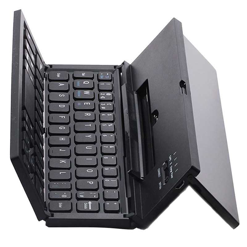 Universal Portable Foldable Wireless Bluetooth Keyboard with Kickstand for IOS Andriod Windows Smartphone Tablet Black portable rollable foldable bt wireless keyboard folding intelligent magnetic switch bluetooth keyboard for smartphone tablet