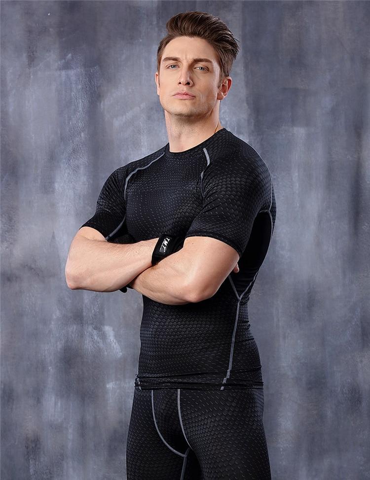 Männer Kompressionsstrumpfhose Shirt Base Layer Fitness Workout Tops - Herrenbekleidung - Foto 5
