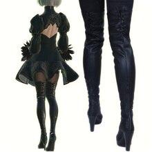 Новинка г.; обувь для костюмированной вечеринки в стиле игры «Nier Automata»; ботинки для костюмированной вечеринки из искусственной кожи до колена; Цвет Черный; на высоком каблуке; на шнуровке; Размеры 35-43