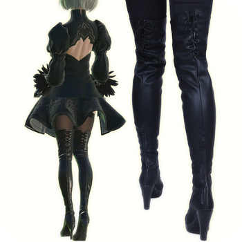 New 2017 Game Nier Automata Cosplay Shoes YoRHa 2B Knee Length PU Leather Cosplay Boots Black High Heels Lace-up Size 35-43 - DISCOUNT ITEM  15% OFF All Category