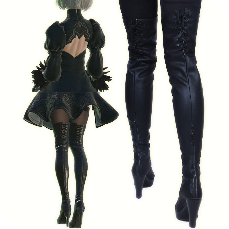 New 2017 Game Nier Automata Cosplay Shoes YoRHa 2B Knee Length PU Leather Cosplay Boots Black High Heels Lace-up Size 35-43 image