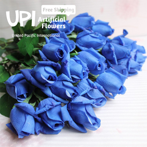 1 Artificial Flowers Real Touch Blue Rose Decorative Bouquet Wedding Home Party Decorations - Union Pacific International Trading Ltd. store