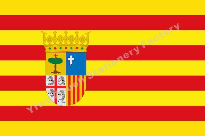 Aragon Flag 150X90cm (3x5FT) 120g 100D Polyester Double Stitched High Quality Free Shipping Spain Autonomous Regions