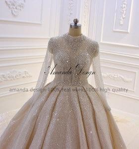 Image 2 - Amanda Design High Neck Long Sleeve Luxury Crystal Beading Shiny See Through Wedding Dress