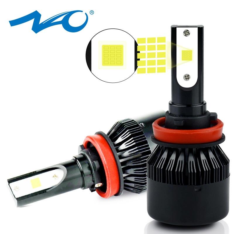 NAO H7 светодиодный H4 H11 автомобильный головной светильник 12 В H9 H8 HB4 HB3 автомобильная лампа 9006 9005 HB2 64 Вт 7000Lm супер яркий белый противотуманный с...