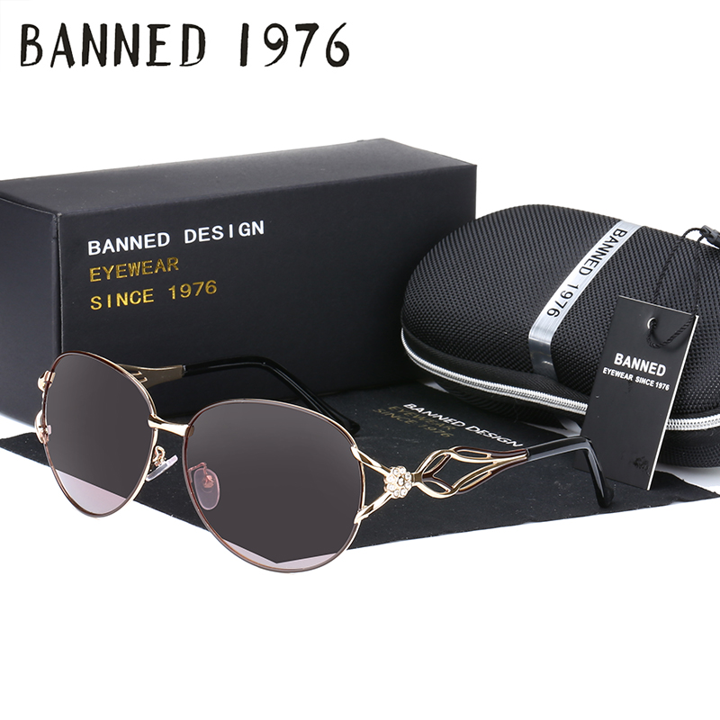 BANNED women's HD polarized fashion Sunglasses hot sell newest brand name lens feminin diamond sun Glasses vintage with gift box