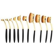10pcs oval makeup brush set yellow gold makeup brushes professional toothbrush makeup brush make up tools for beauty