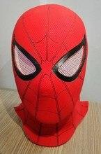 купить High Quality Full Head Spider-Man 3D Red Latex Masks Halloween Spiderman Flexible Hood Party Hat Mask дешево
