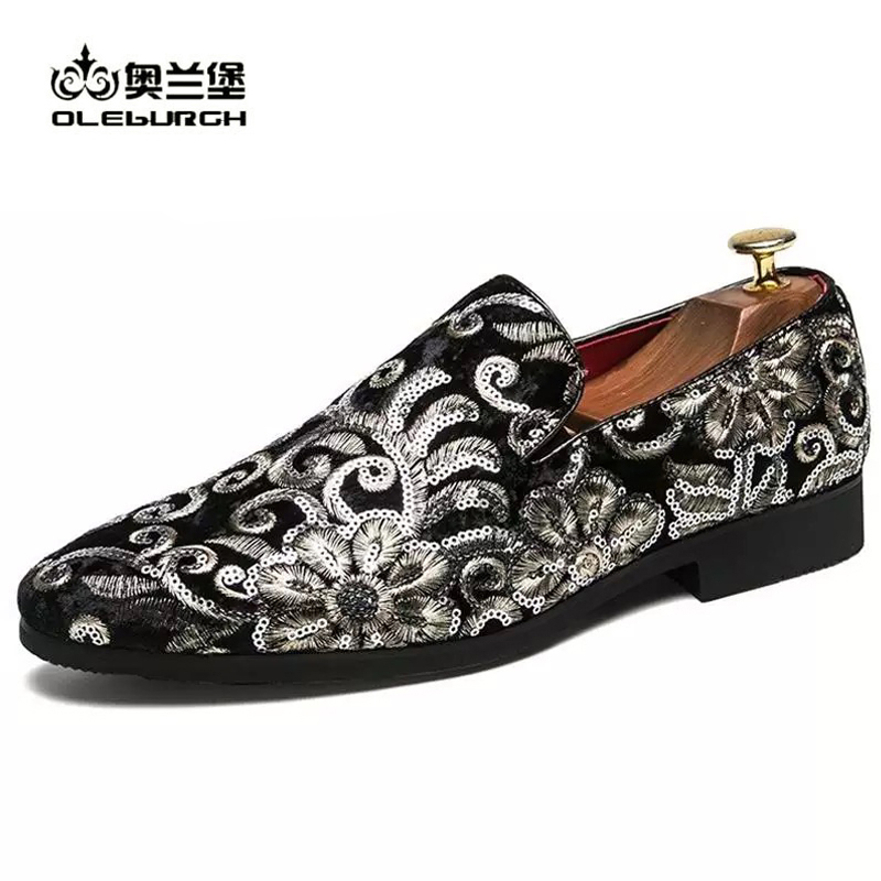 OLEBURGH Fashion Men Loafers Black Embroidery Handmade Men Velvet Shoes Party And Wedding Men's Flat Slip On Plus Size 37-48 цена