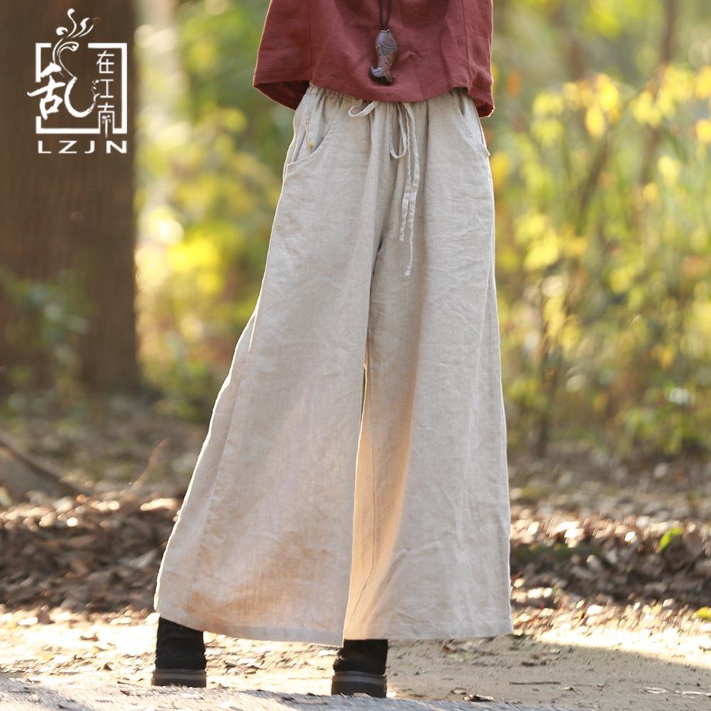 LZJN Drawstring Linen Pants for Women 2018 Spring Summer Long Trousers Vintage Women Bottoms Elastic High Waist Wide Leg Pants