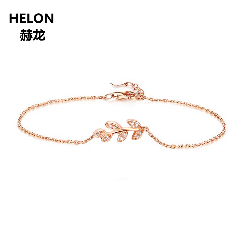 SI/H Natural Diamonds Women Bracelet Chain Solid 18k Rose Gold Engagement Wedding Bracelet Fine Jewelry solid 18k yellow gold 0 07ct si h full cut natural diamonds drop earrings for women engagement wedding fine jewelry chain