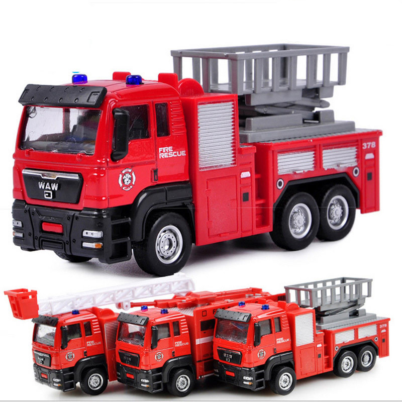 Kids 1:55 Ladder Fire Truck/Engine/Rescue Alloy Pull Back Car Model Vehicle Plastic Inertia Diacast 2019 Toys Children Gift Boys