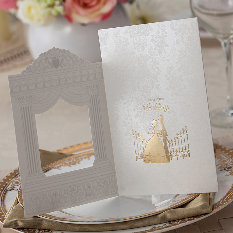 100 pcs Fashion Wedding invitation Cards Gold foiling frame church