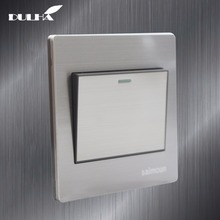 цена на 1 Gang 2 Way Light Wall Switch 10A 110~250V 220V Electrical Push Button Lamp Switches Luxury Satin Metal Stainless steel Panel