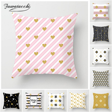 Fuwatacchi Geometric Cushion Cover Heart Star Diamond Printed Pillow For Home Sofa Chair Decoration White Pillowcase