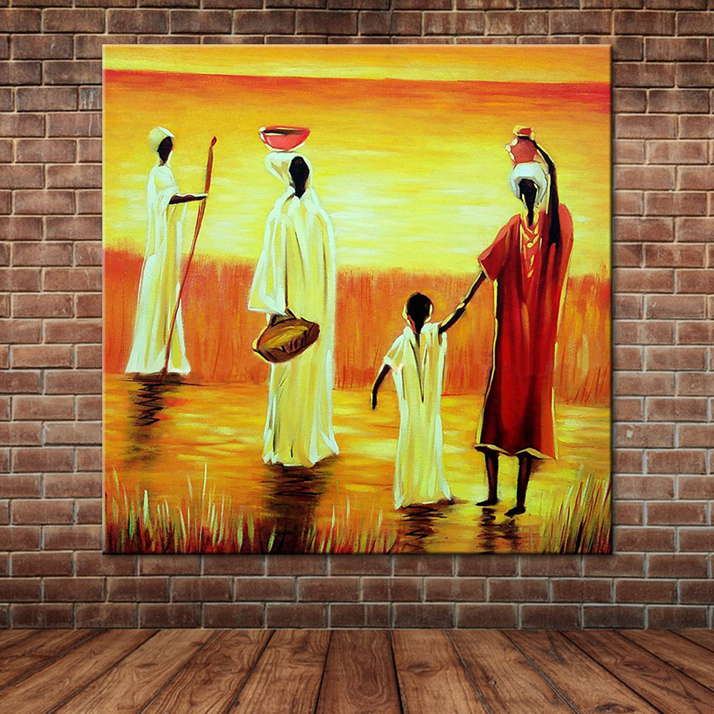 Popular african woman sunset painting buy cheap african for African mural painting