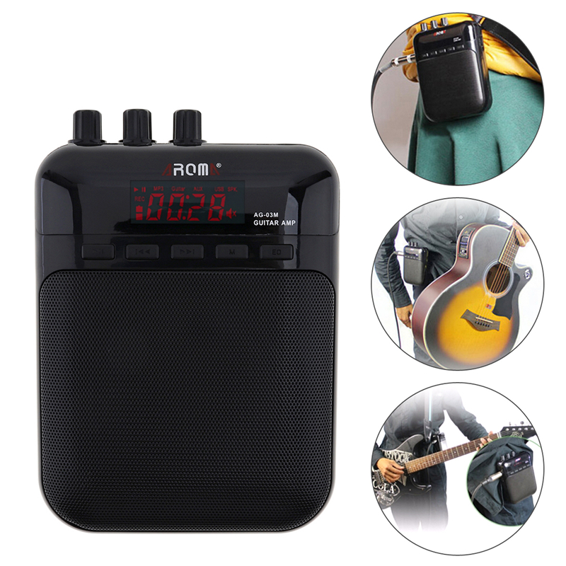 Aroma AG-03M 5W Guitar Amp Recorder Speaker TF Card Slot Compact Portable Multifunction Guitar Amplifier+USB Data Line ysx 68 portable multi function amplifier w tf card slot usb fm radio black