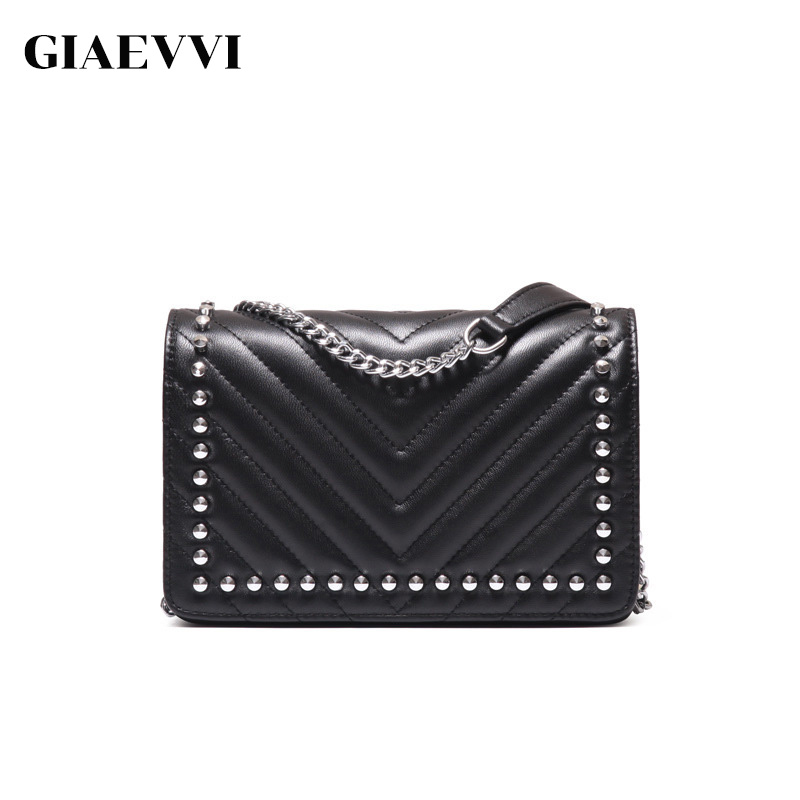 GIAEVVI Women Shoulder Bag Rivets Genuine Leather Messenger Bags V-Shaped Chain Handbag Small Crossbody Bags for Girls Clutch velour beauty women design handbag chain shoulder bag mini small velvet crossbody satchel female messenger bags gift for girls