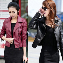 Punk Women Faux Leather Motorcycle Zipper Fashion Slim Fit Jacket Outwear Coat