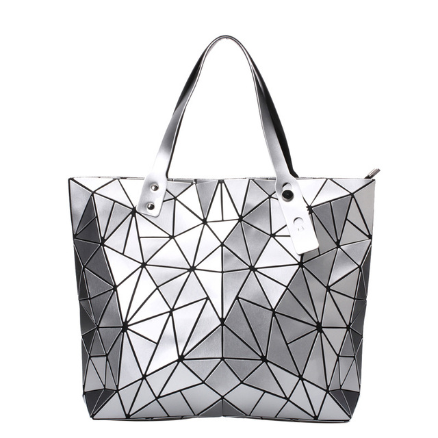 13bf8a5c3879 2018 New Women Handbags Matte Triangle Laser Bao Female Diamond Geometry  Quilted Tote Mosaic Shoulder Bag Luminous Bag