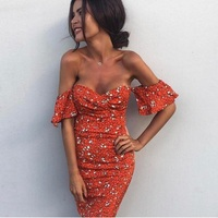 SHIBEVER Sexy Summer Women Dress Print Ruffles Mini Party Dress Club Slash Neck Beach Boho Ladies